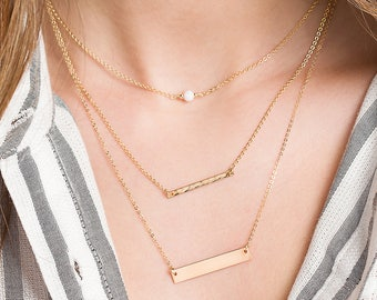 Gold Bar Necklaces & Gemstone Layered Gift Set of 3, Gold, Silver, Rose Gold, Personalized Necklaces, Dainty Bar Necklace