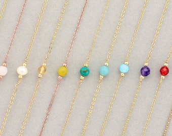 Gemstone Necklace·Dainty Gold Necklace ·Birthstone Necklace·Gift for Mothers·Daughters Simple·14k Gold Filled, Rose Gold or Sterling Silver