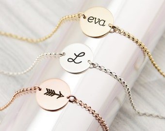 Gold Initial Bracelet, Gold Circle Disc, Gold Filled, Rose Gold Filled, Silver, Personalized Bracelet, Initial Disc, Bridesmaid Gift