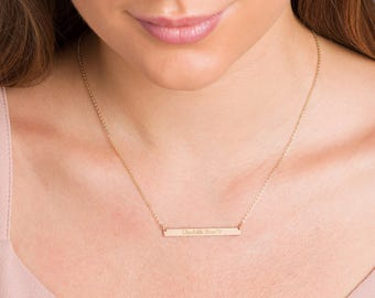 Custom Coordinates Necklace Rose Gold Bridesmaids Gift Layered Necklace Personalized Bar Necklace Silver Vertical Skinny Bar Necklace
