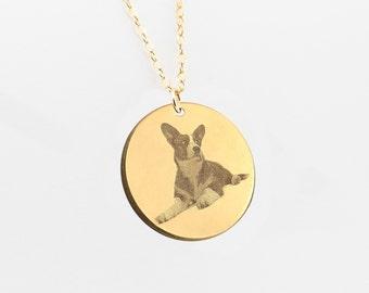 Dog Necklace, Pet Necklace, pet portrait, Cat Necklace, Pet Memorial, Animal Necklace, Disc Necklace, Picture Necklace