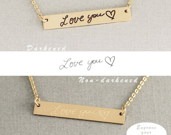 Gold Bar Necklace, Handwritten Bar Necklace - YOUR HANDWRITING - or Image, Sterling Silver, Gold or Rose Gold, Jewelry For Her