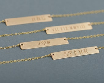Gold Personalized Bar Necklace, Bar Necklace, Engraved Necklace, Contemporary Bridesmaid Jewelry, Initial Rectangle Necklace, Valentines Day