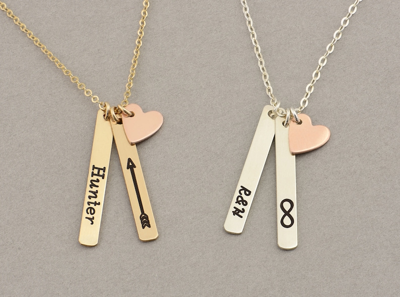 96e786341c092 Skinny MINI Vertical Bar Necklace with Heart, Name Necklace / Personalized  Gold Bar Necklace, Gold Bar, Vertical Bar