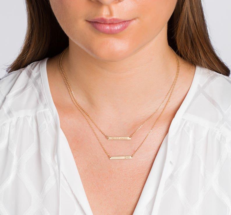 Skinny MINI Bar Necklace Personalized Gold Bar Customized image 0