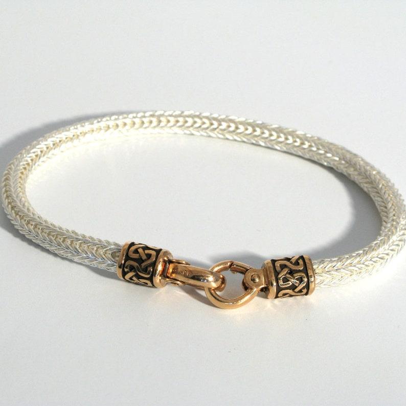 24b5f773a Foxtail Link Bracelet for Women or Men in Fine Silver with 18k | Etsy
