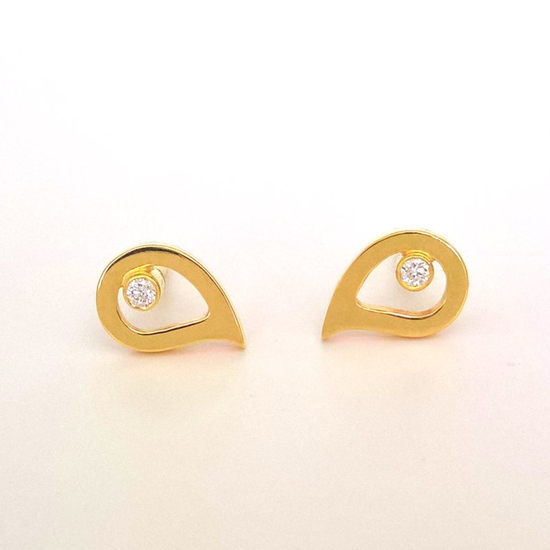 25a68f160 18k Gold Diamond Stud Earrings Small Paisley Gold Earrings | Etsy