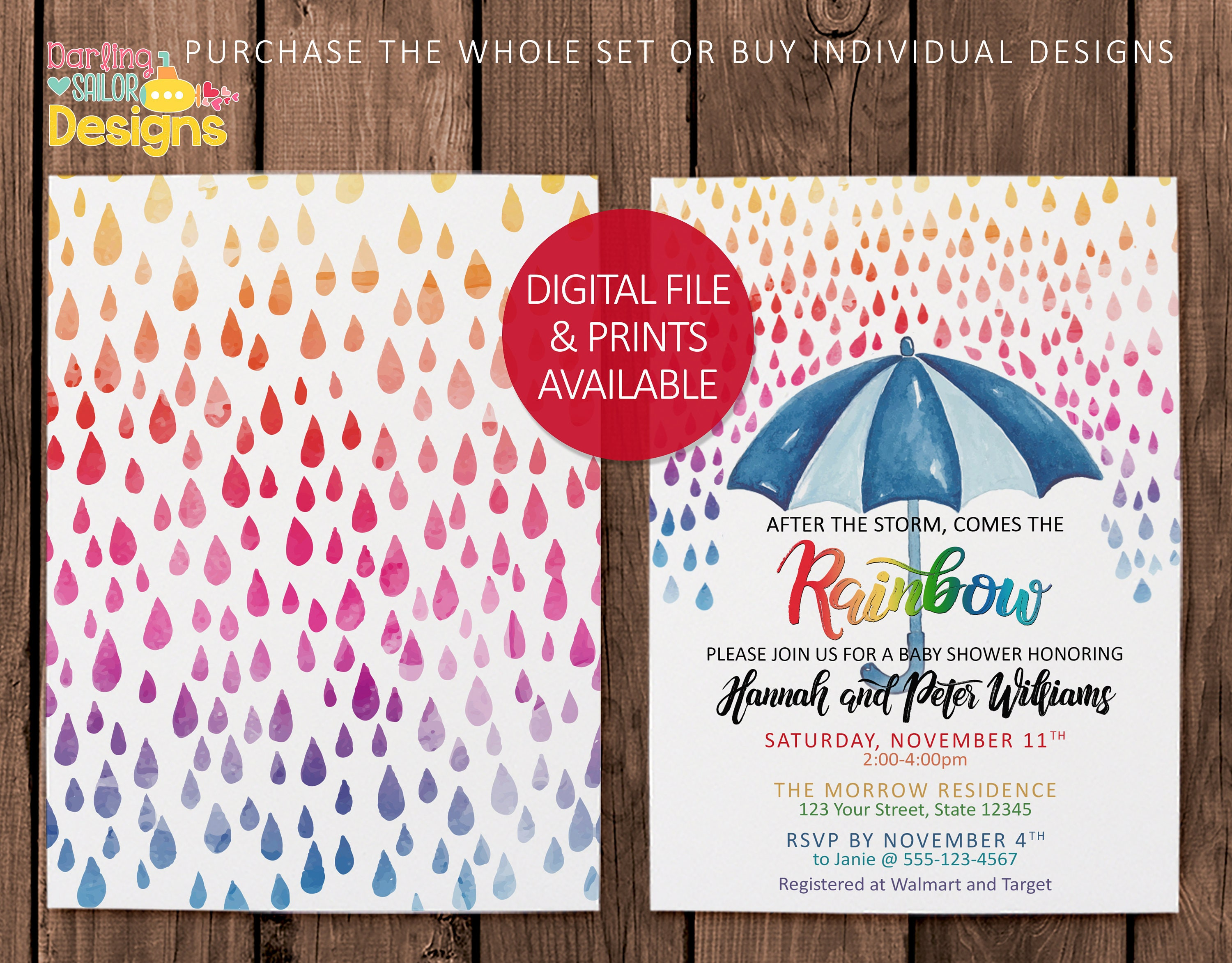 Rainbow Baby Shower Invitation Book Request Thank You Card