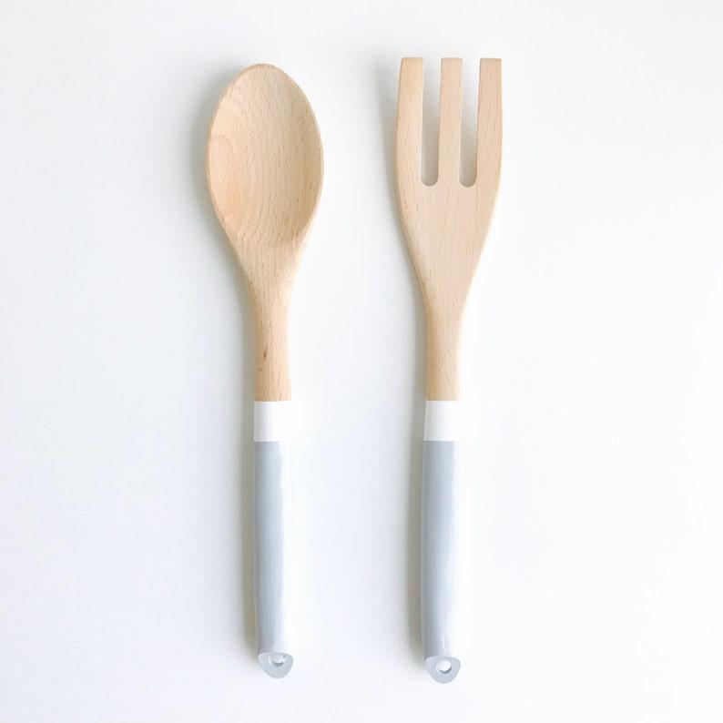 Cooking Utensils Set of 2 Kitchen Utensil Set Wooden Spoon and Fork Salad Serving Utensil Set Grey Wood Serving Utensils