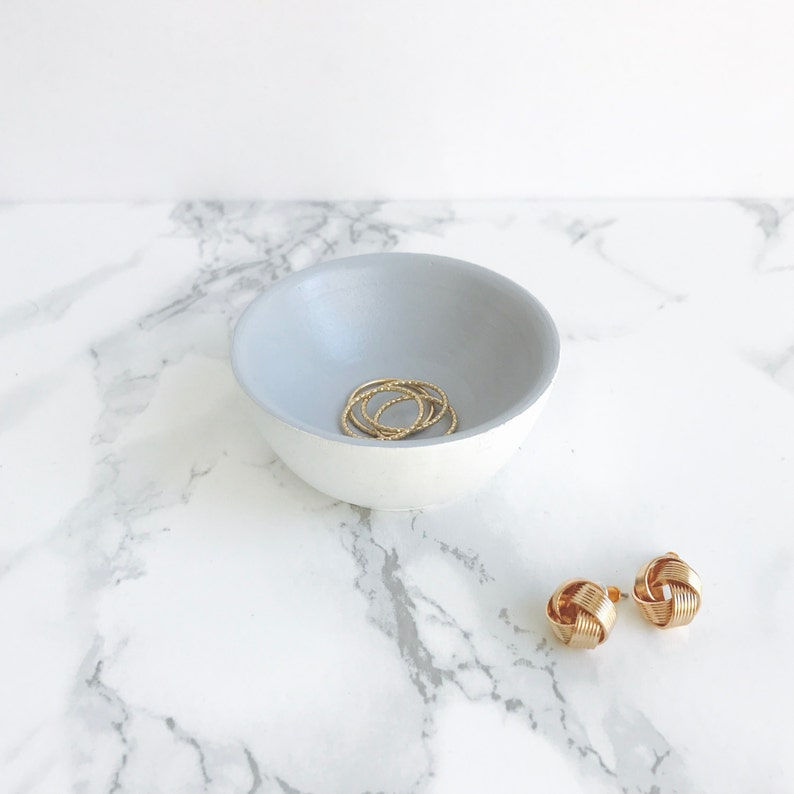 Ring Holder Grey Jewelry Holder Jewelry Storage Earring Holder Ring Bowl Engagement Ring Holder White Earring Bowl