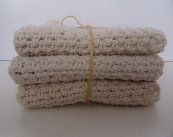 11 inch square 100% cotton ecru crocheted wash cloths set of 3