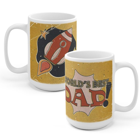 World S Best Dad Comic Book Rocket Coffee Mug Tea Cup Etsy