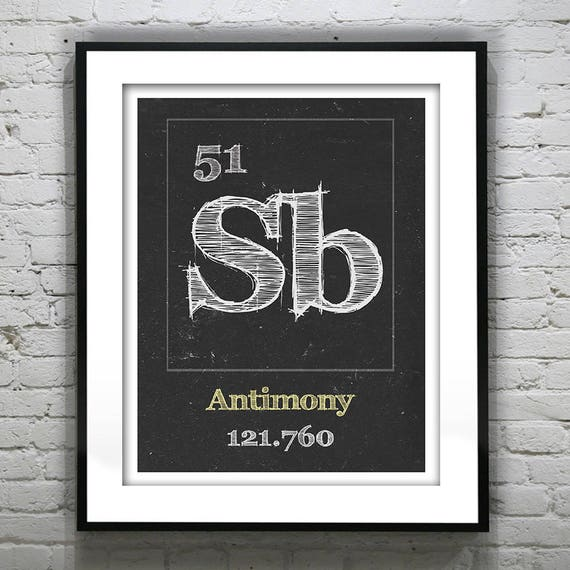 Periodic Table Antimony Poster Art Print Periodic Table Of Etsy