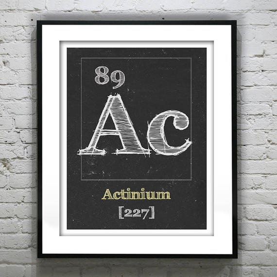 Periodic Table Actinium Poster Art Print Periodic Table of Elements Ac 89