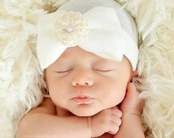 Newborn Hospital Hat Baby s 1st Keepsake!. Newborn Baby Hats. With Pretty  Bow c8cbce10db8