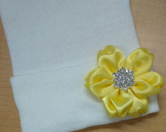 5496a297695 Solid White Newborn Hospital Hat w  Yellow Flower and Rhinestone in it!  Hospital Beanie. Every Baby Should have! Beauti