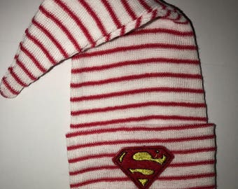 ff6e938a05a A Best Seller! Stocking Newborn Hospital Hat. Red White Baby Newborn Beanie  w  Super Hero Applique. Every Baby Should Have
