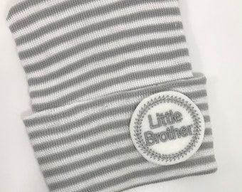 653dabfda04 Newborn Hospital Hat. Gray and White Baby Boy Little Brother. Newborn Beanie.  Every New Baby Boy Should Have! Adorable!