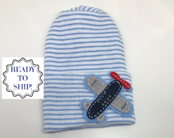 c33751bfa86 Newborn Hospital Hat. Round Top Blue and White Hat with Airplane. Newborn  Beanie. Every New Baby Boy Should Have! Adorable!