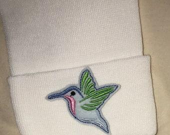 Newborn Hummingbird Hospital Hat. Newborn Hospital Beanie. Baby Newborn Hats.  White Baby Hat. Newborn Beanies. Cute Bird Applique! f4fb07fda6c3