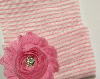 Newborn Hospital Hat! Pink and White Stripe Hat with Flower and Bling! 1st Keepsake! Newborn Beanies.Great Gift! Perfect for Photos!
