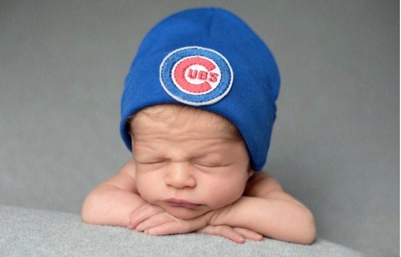 Newborn Beanie Baby Hat Go Cubs Baby 0-3 Months CHICAGO CUBS Baseball Boy or Girl Great Gift!