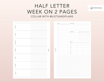 Half letter WO2P collab with @listsandplans - printable insert