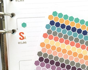 TINY hexagon sampler sheet (2017 inkWELL Press colors)