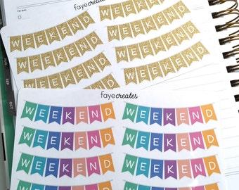 Weekend banner stickers