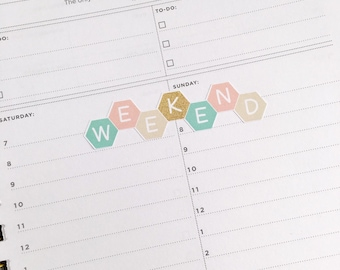 Hexagon weekend banner stickers
