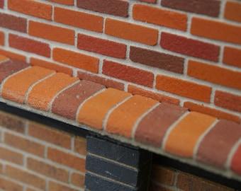 25 Multi Red Bullnose on flat Miniature Bricks