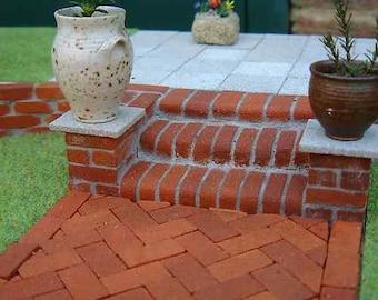 25 Multi Red Bullnose on edge Miniature Bricks