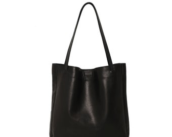 Minimal Black Leather Tote, Genuine Leather Tote Bag