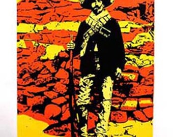 Soldado Mexican Revolution colorful soldier original screenprint orange yellow deep blue handmade one of a kind