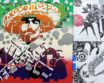 Portrait of unknown Mexican Revolutionary soldier with Mexican flag colors in background. Other two panels are spiritual abstract of stars.