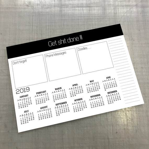 Large 2019 Calendar Desk Pad A4 Or A3 Size Notepad Desk Planner Multiple Design Variations