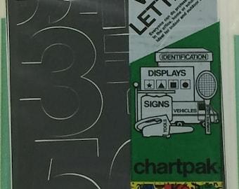 """Chartpack Vinyl Lettering Helvetica Medium NUMBERS Black 3"""" STICKERS"""