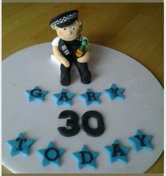 Edible Handmade Drunk Policeman Fun Birthday Cake Topper