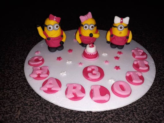 Superb Edible Handmade Girly Minions Birthday Cake Topper Decoration Etsy Personalised Birthday Cards Cominlily Jamesorg