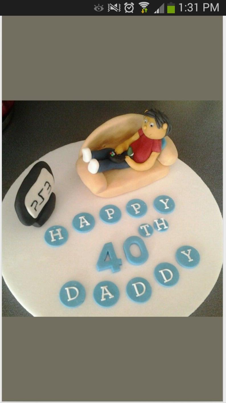 Edible Man Boy Laid On Sofa Gaming Xbox Ps3 Ps4 Birthday Cake