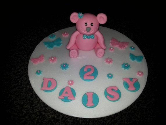 Peachy Edible Large Teddy Bear Birthday Cake Topper Etsy Personalised Birthday Cards Epsylily Jamesorg