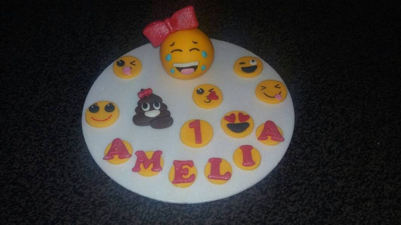 Handmade Edible Girls EMOJI Birthday Cake Topper PERSONALISED