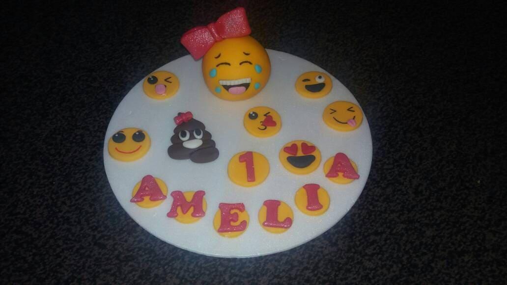 Handmade Edible Girls EMOJI Birthday Cake Topper PERSONALISED