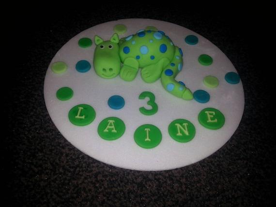 Pleasant Edible Handmade Dragon Birthday Cake Topper Personalised Etsy Personalised Birthday Cards Veneteletsinfo