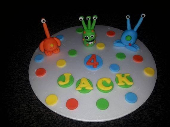 Prime Edible Handmade Alien Monster Birthday Cake Topper Decoration Etsy Funny Birthday Cards Online Elaedamsfinfo