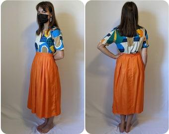 S - Orange A-line Vintage Skirt with Pockets / Mister Leonard / High Waisted 1970s Halloween Pumpkin Colour Skirt Pin-up Skirt
