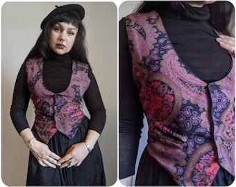 M - Purple Paisley Floral Vest / 90s Vintage Autumn Fashion Waistcoat / Dark Academia Witchy Boho Button up Vest