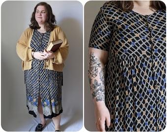 XL - 90s Nautical Sundress / Vintage Short sleeved Rayon Dress / Cute Casual Novelty Print Dress / 1990s Country Girl Sailing Dress