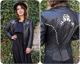 S - Womens Leather Jacket with White Cutout Roses / Vintage Western Moto Jacket / Fall Coat Biker Alt Country Gothic 90s