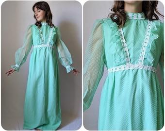 S - Aquamarine Green Praire Dress w Polkadots / 1970s Edwardian Revival Gown / Vintage Bishop Sleeve Cottagecore Party Dress